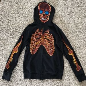 EUC Tony Hawk Fire Skeleton Full Face Hoodie